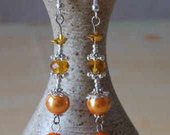 Earrings * cocktails * warm and sparkling Orange Crystal, aluminum and glass Renaissance - Pop -
