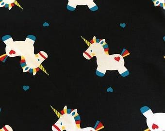 Black / Rainbow Unicorns Stretch Jersey Fabric