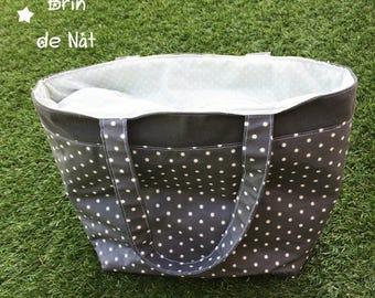 Handbag in coated cotton