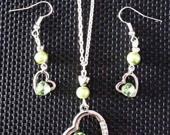 """Set Earrings + Necklace """"Heart almond"""""""