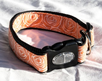 Extra Large (XL) 1.5 inch wide Adjustable Dog Collar - Orange Roses. Includes Reflective Buckle.