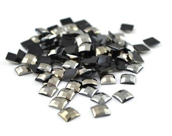 50 Black Silver square rhinestone faceted 5mm
