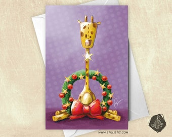 Christmas new year giraffe greeting card and Crown