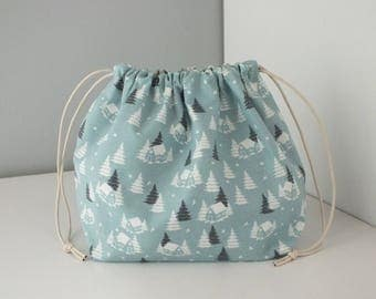 "Purse ""Obento kinchaku"" fashion winter tree pattern."