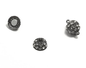 Metal magnetic clasp - with eyes (1.5 mm hole) - Gunmetal and Crystal - FERMGBO15NO010 rhinestones