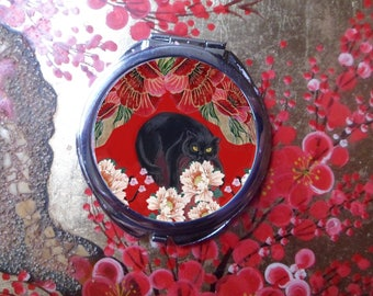 large Pocket mirror with cat: black cat and peonies