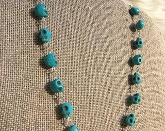Blue skull bead necklace