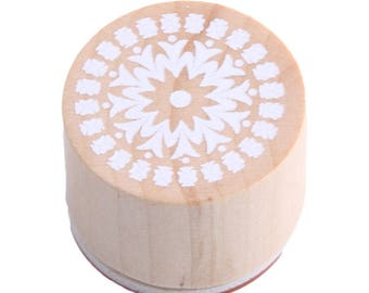 1 X wooden round stamp motif lace n ° 1