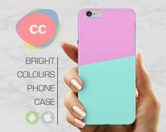 Pink Blue Phone Case / iPhone 7 Case  / iPhone 6s Case / Samsung Galaxy S8, S7, S6 Case / iPhone 6, 5, 5S Case - PC-219
