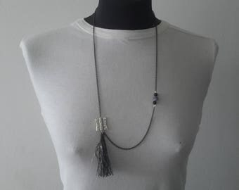 long tassels and black agate necklace