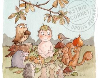 60 invitations birth 'autumn' with square envelopes