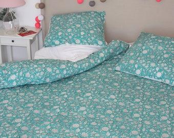 Celadon pillowcases and duvet cover