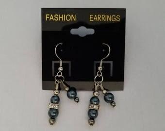 Elegant Blue Dangle Hook Earrings;