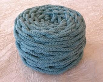 Cotton cord. Twisted cotton cord. Cotton rope. Corde macramé bleu. Bobine de cordon tressé 6 mm en coton 100 %, bleu. 50 m.