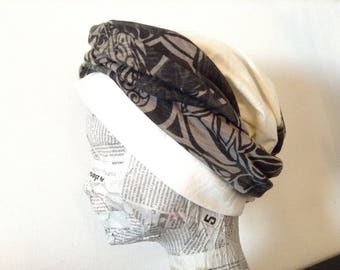 Turban hat in off white jersey and khaki flowers in one piece to tie around the head