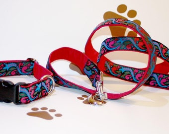 "Dog Collar and Leash Set ""Together"" Special Price Jacquard Ribbon Elegant Style for Pet Accessories"
