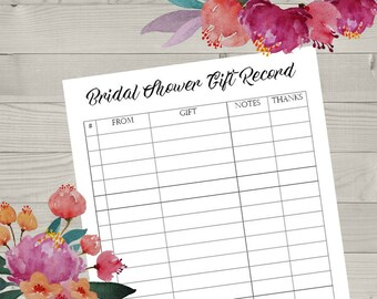 Printable Bridal Shower Gift Registry, Gift Record List, List of Gifts Received, Gift Registry, Bride and Groom, Record of Gifts