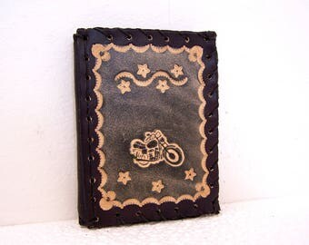 Worn leather handmade and original card, adorned with a bike in black tones for men or women