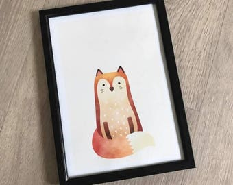 A4 Woodland Nursery Print - Fox