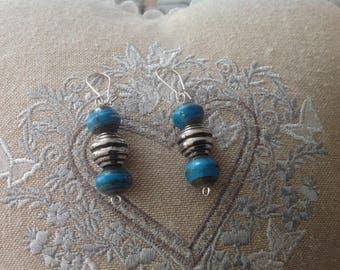 Beads, recycled handmade paper earrings