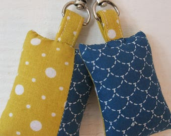 Set of 2 key fabric (number 170) Blue / mustard