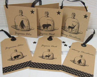 "Set of 6 greeting cards Kraft ""Christmas at the North"" (Christmas greetings)"
