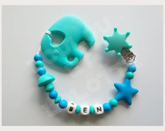 Soother/pacifier personalized silicone + teether elephant/model Ben