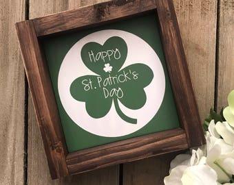 Happy St. Patrick's Day Wood Framed Sign / St. Patrick's Day Decor / Holiday Decor