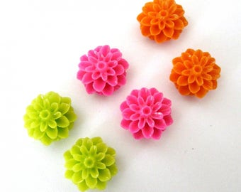 6 flowers Dahlias resin