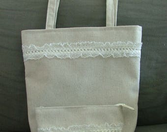 bag and coordinated pouch ecru more lace