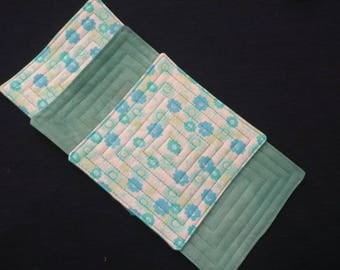 Coasters, Quilted Cotton, Aqua and White, Hostess Gift, Housewarming Gift, Friend, Shower, Coworker - Set of 4