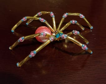 Glass beaded spider figurine - Pink and gold