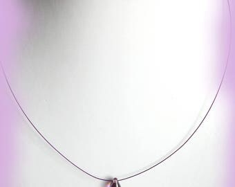Purple necklace with a glass drop bead