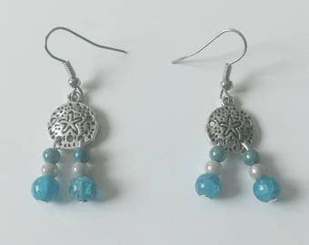 Earrings turquoise beads and round charms