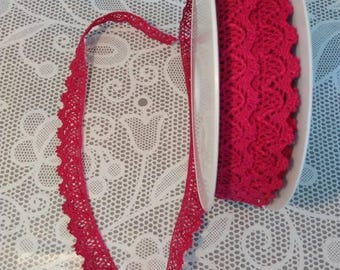 Ribbon lace raspberry, sold by the yard