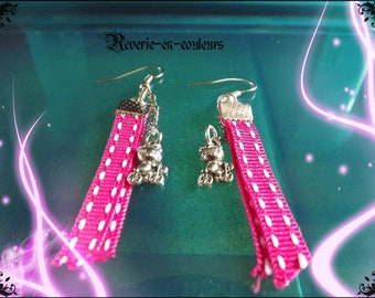 charm and Pink Ribbon earrings