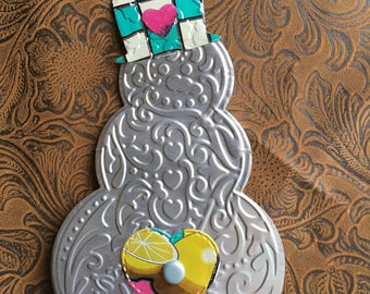 Snowman Ornament from Recycled Arizona Iced Tea can