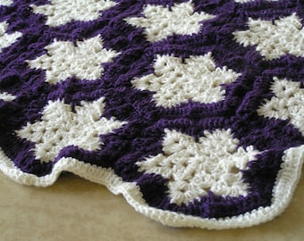 Purple and white wool blanket off-white crocheted, gift