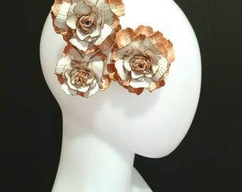 Leather Rose Headpiece - Golden White