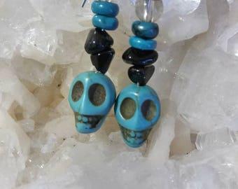 Turquoise Howlite skull earrings