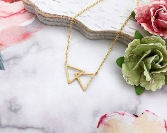 Gold Double Triangle Dainty Necklace