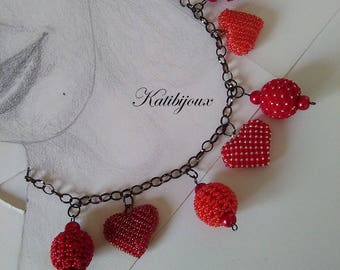 Red hearts rock charm necklace