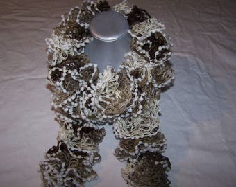 Knitted in shades of Brown, white, scarf accessory