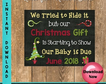 Christmas Pregnancy Announcement Sign, Tried to Hide it but our Christmas Gift is Starting to Show, Baby Photo Props, Two Months Included
