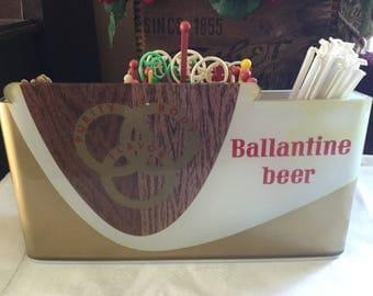 Ballantine Beer and Ale Counter Display / Sign / Beer Foam Scraper, Swizzle Stick Caddy