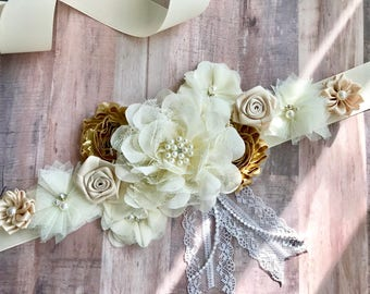 Cream White and Gold Ivory Flower Sash Pregnancy Sash Gender Reveal Party Baby Shower Gift Keepsake Flower Girl Sash Bridal sash