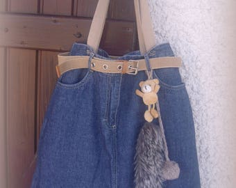 A recycled denim purse