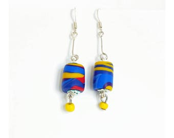 Earrings * blue yellow red SWIRL * polymer clay beads
