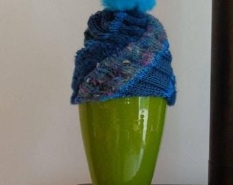 Blue wool with Pom Pom Hat