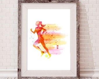 Watercolor Women Running Poster - Watercolor Women Running Clip Art - Watercolor Women Running Wall Art - Watercolor Women Running Print